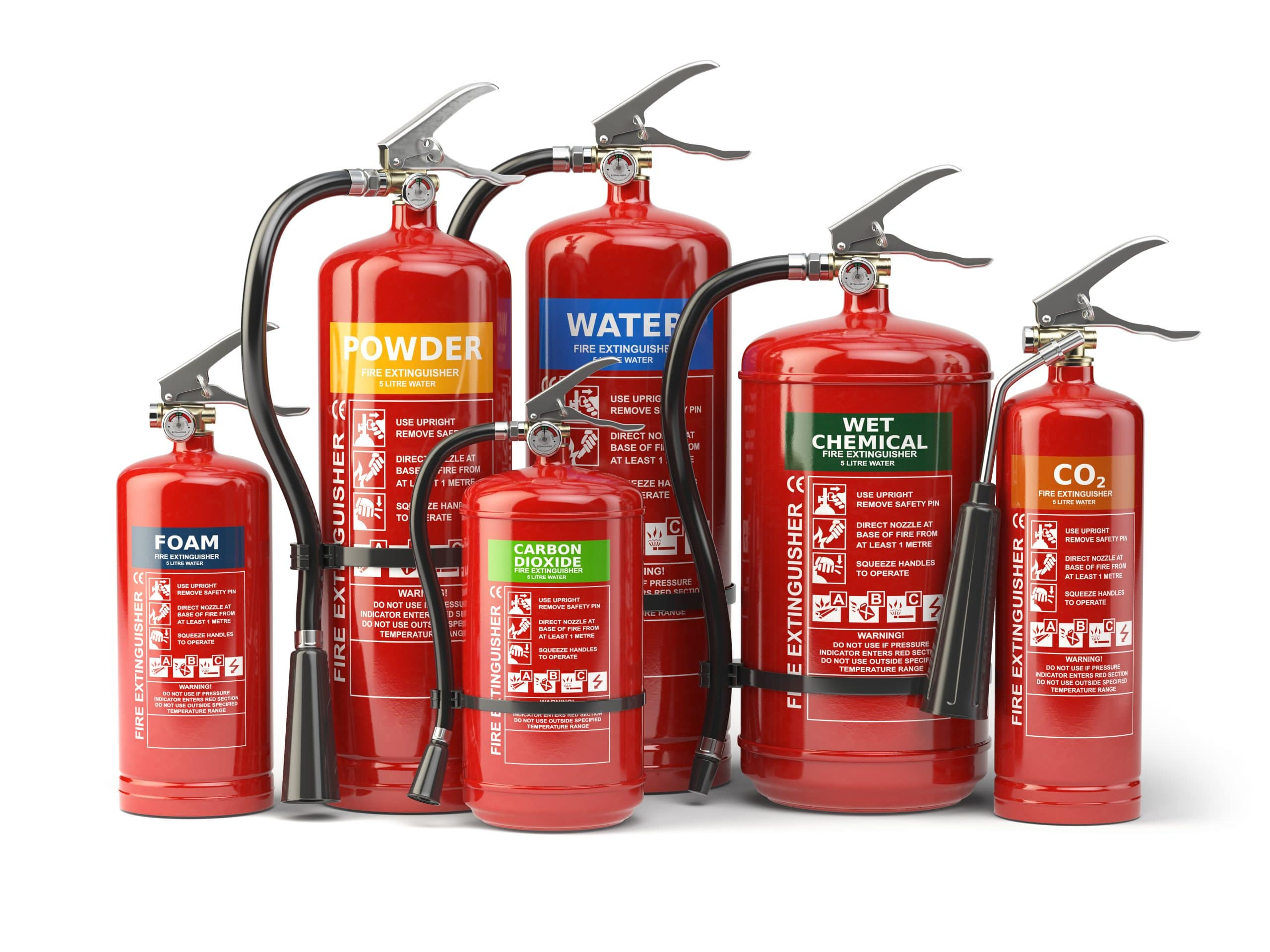 fire extinguishers with industrial labels